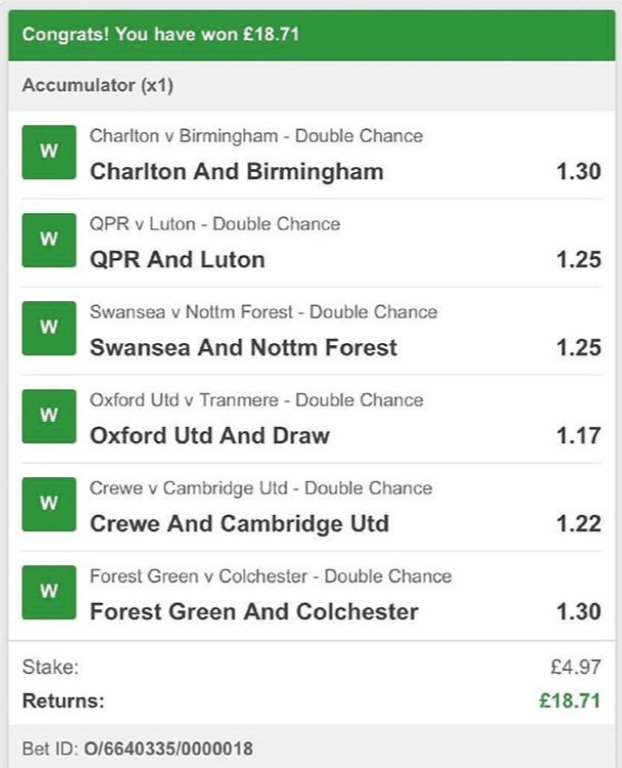 Double Chance WIns 14-09-2019
